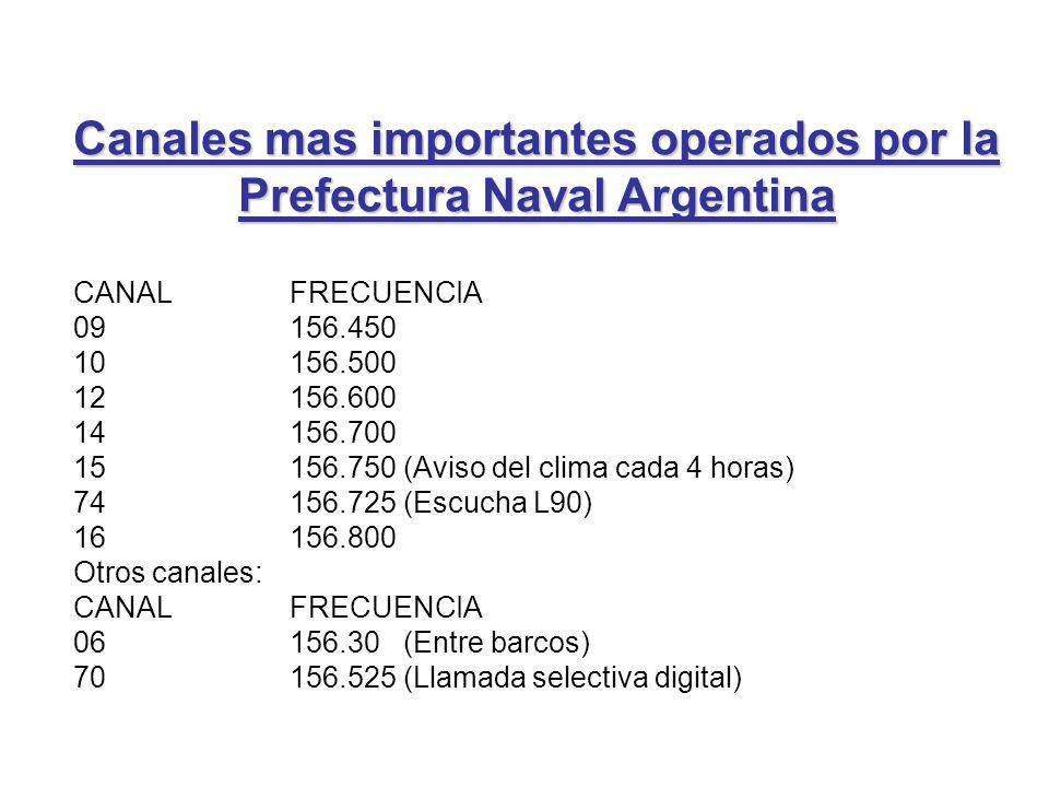 CANAL FRECUENCIA 09 156.450 10 156.500 12 156.600 14 156.700 15 156.750 (Aviso del clima cada 4 horas) 74 156.725 (Escucha L90) 16 156.800 Otros canal
