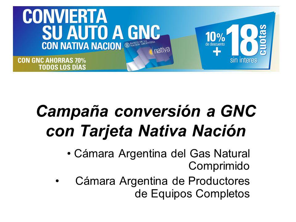 Campaña conversión a GNC con Tarjeta Nativa Nación Cámara Argentina del Gas Natural Comprimido Cámara Argentina de Productores de Equipos Completos