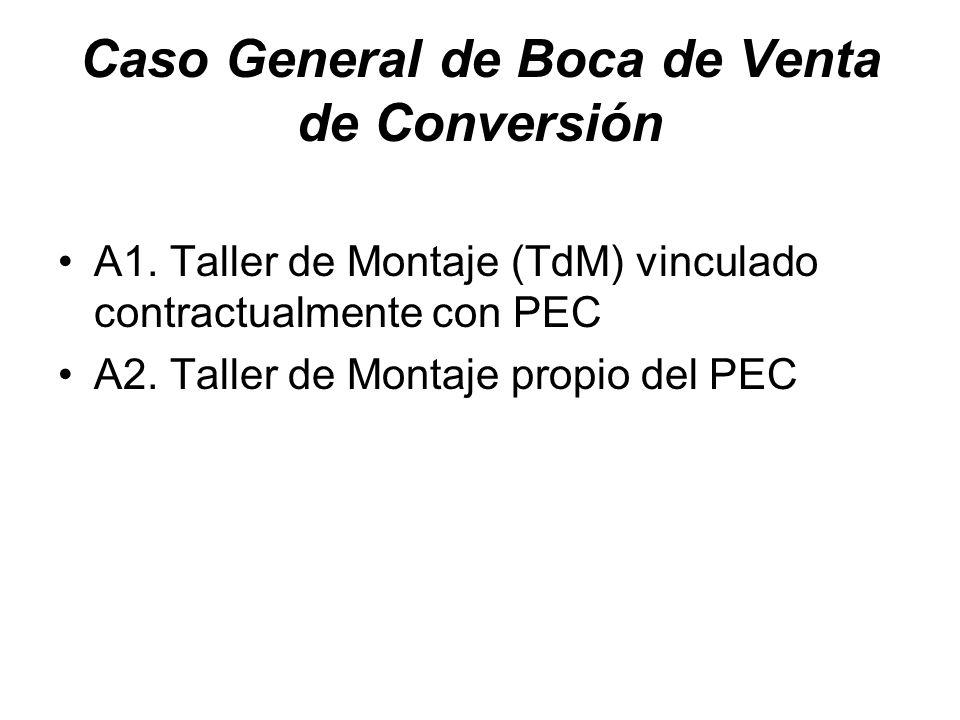 Caso General de Boca de Venta de Conversión A1. Taller de Montaje (TdM) vinculado contractualmente con PEC A2. Taller de Montaje propio del PEC