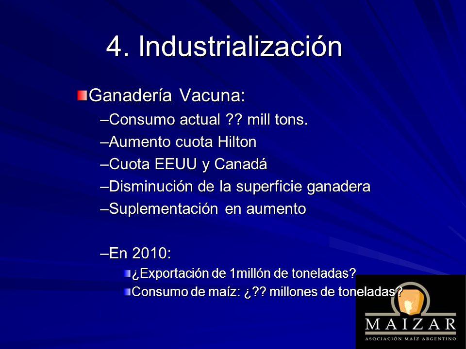 Ganadería Vacuna: –Consumo actual ?? mill tons. –Aumento cuota Hilton –Cuota EEUU y Canadá –Disminución de la superficie ganadera –Suplementación en a