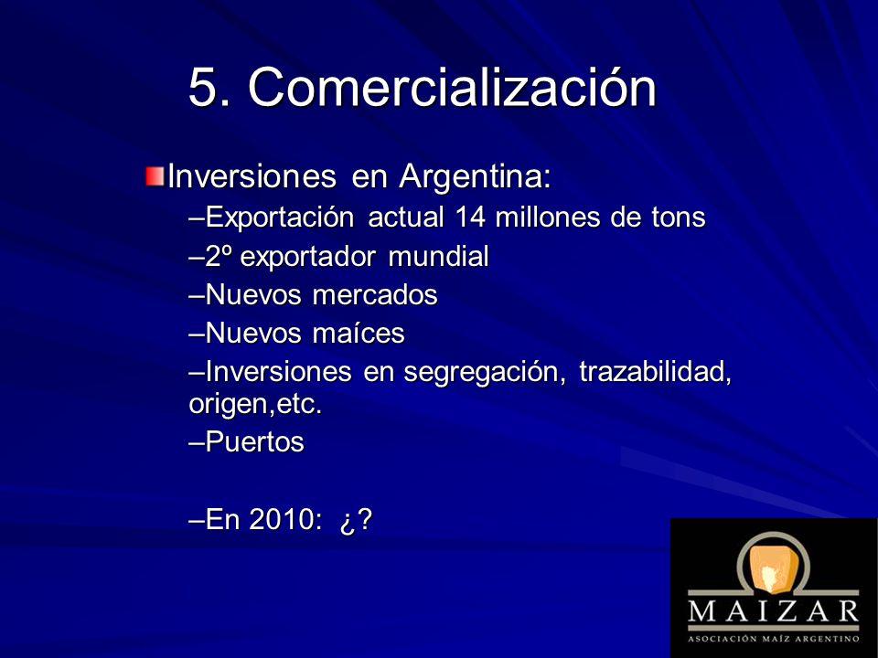 Inversiones en Argentina: –Exportación actual 14 millones de tons –2º exportador mundial –Nuevos mercados –Nuevos maíces –Inversiones en segregación,