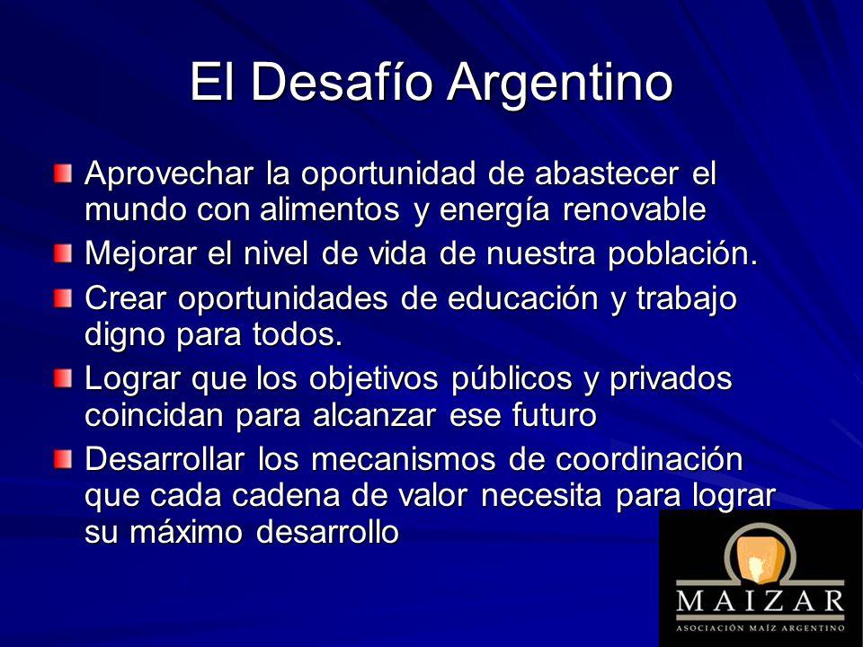 El Desafío Argentino Aprovechar la oportunidad de abastecer el mundo con alimentos y energía renovable Mejorar el nivel de vida de nuestra población.