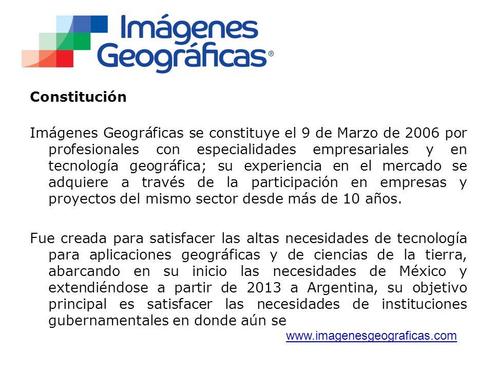 Constitución Imágenes Geográficas se constituye el 9 de Marzo de 2006 por profesionales con especialidades empresariales y en tecnología geográfica; su experiencia en el mercado se adquiere a través de la participación en empresas y proyectos del mismo sector desde más de 10 años.