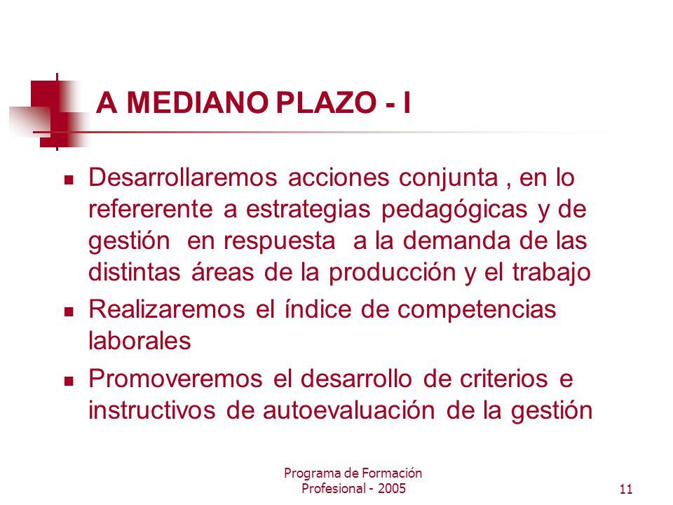 Programa de Formación Profesional - 200511 A MEDIANO PLAZO - I Desarrollaremos acciones conjunta, en lo refererente a estrategias pedagógicas y de gestión en respuesta a la demanda de las distintas áreas de la producción y el trabajo Realizaremos el índice de competencias laborales Promoveremos el desarrollo de criterios e instructivos de autoevaluación de la gestión
