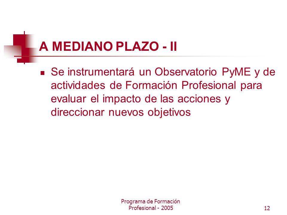 Programa de Formación Profesional - 200512 A MEDIANO PLAZO - II Se instrumentará un Observatorio PyME y de actividades de Formación Profesional para evaluar el impacto de las acciones y direccionar nuevos objetivos