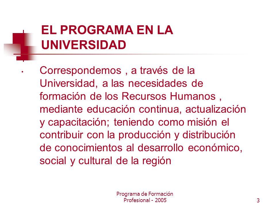 Programa de Formación Profesional - 20053 EL PROGRAMA EN LA UNIVERSIDAD Correspondemos, a través de la Universidad, a las necesidades de formación de los Recursos Humanos, mediante educación continua, actualización y capacitación; teniendo como misión el contribuir con la producción y distribución de conocimientos al desarrollo económico, social y cultural de la región