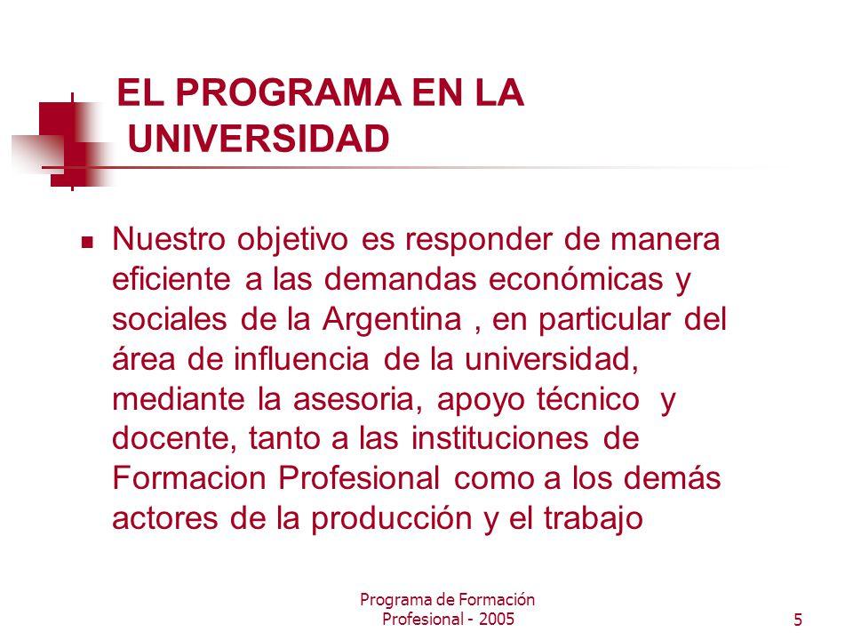 Programa de Formación Profesional - 20055 EL PROGRAMA EN LA UNIVERSIDAD Nuestro objetivo es responder de manera eficiente a las demandas económicas y sociales de la Argentina, en particular del área de influencia de la universidad, mediante la asesoria, apoyo técnico y docente, tanto a las instituciones de Formacion Profesional como a los demás actores de la producción y el trabajo