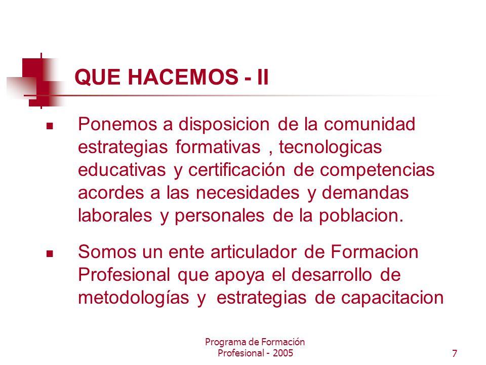 Programa de Formación Profesional - 20057 QUE HACEMOS - II Ponemos a disposicion de la comunidad estrategias formativas, tecnologicas educativas y certificación de competencias acordes a las necesidades y demandas laborales y personales de la poblacion.