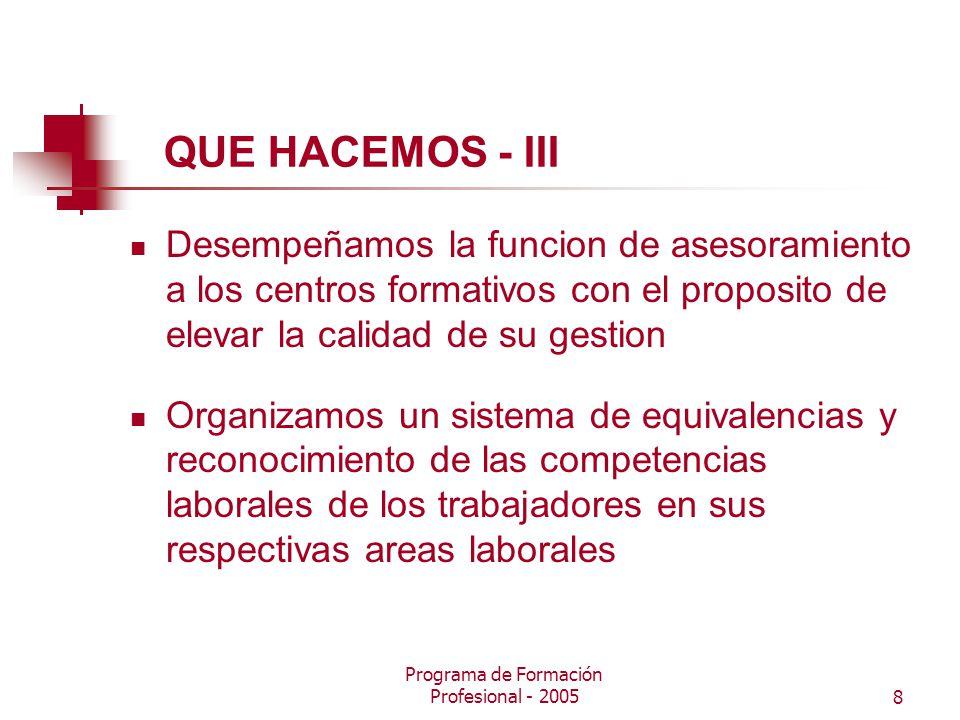 Programa de Formación Profesional - 20058 QUE HACEMOS - III Desempeñamos la funcion de asesoramiento a los centros formativos con el proposito de elevar la calidad de su gestion Organizamos un sistema de equivalencias y reconocimiento de las competencias laborales de los trabajadores en sus respectivas areas laborales