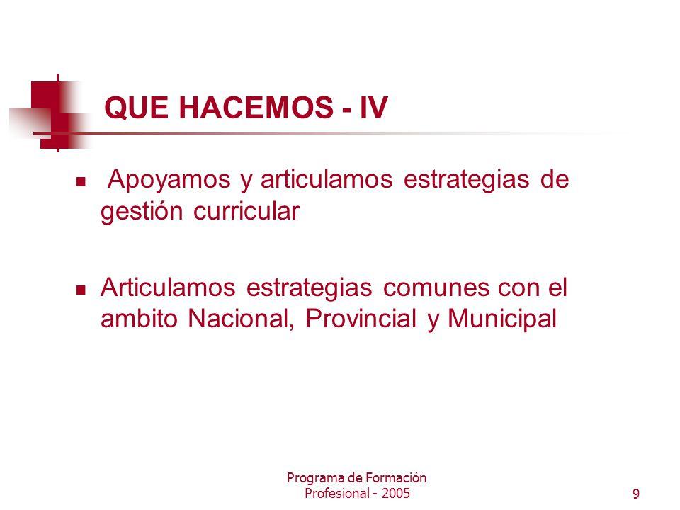 Programa de Formación Profesional - 20059 QUE HACEMOS - IV Apoyamos y articulamos estrategias de gestión curricular Articulamos estrategias comunes con el ambito Nacional, Provincial y Municipal