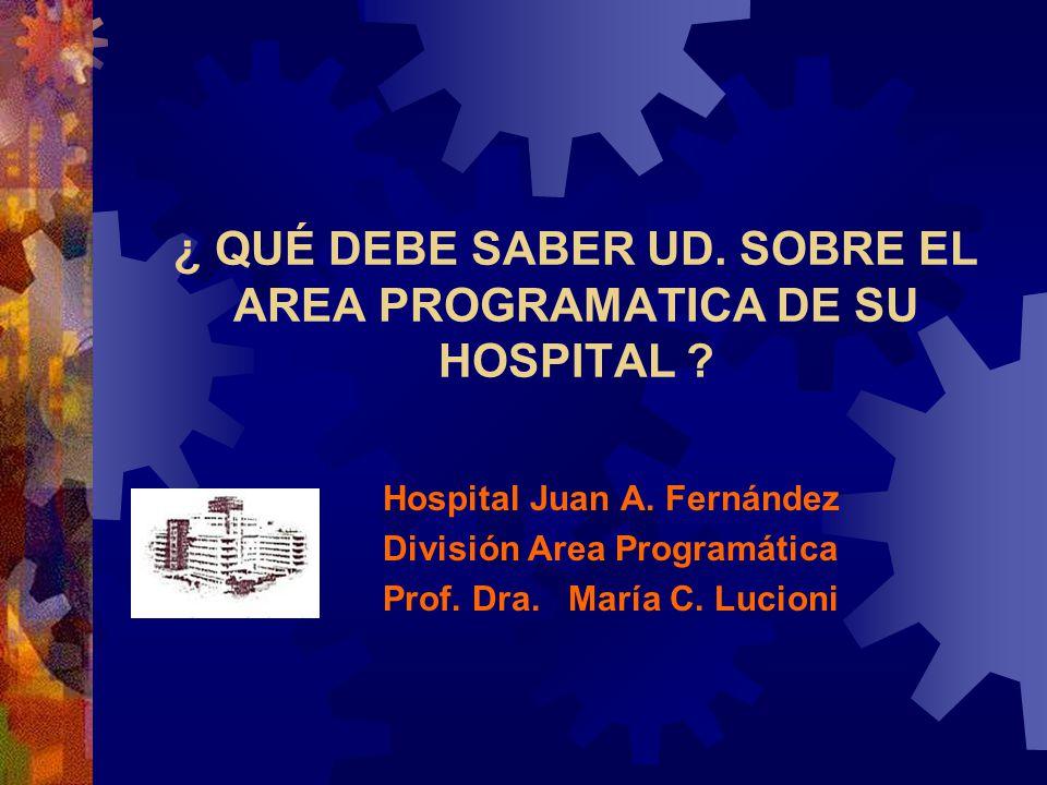¿ QUÉ DEBE SABER UD. SOBRE EL AREA PROGRAMATICA DE SU HOSPITAL ? Hospital Juan A. Fernández División Area Programática Prof. Dra. María C. Lucioni