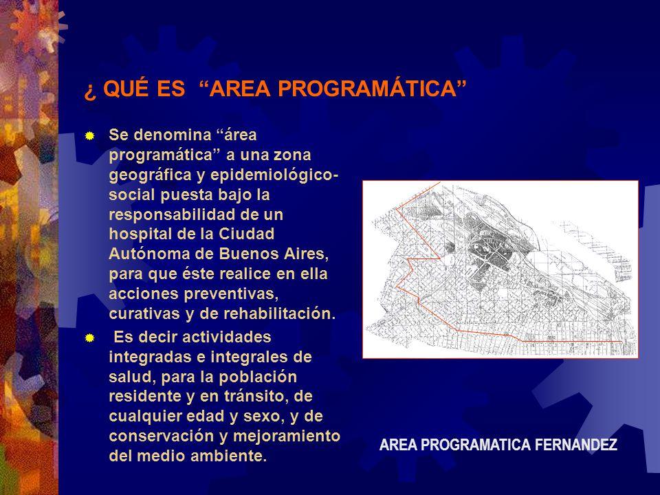 ¿ QUÉ ES AREA PROGRAMÁTICA Se denomina área programática a una zona geográfica y epidemiológico- social puesta bajo la responsabilidad de un hospital