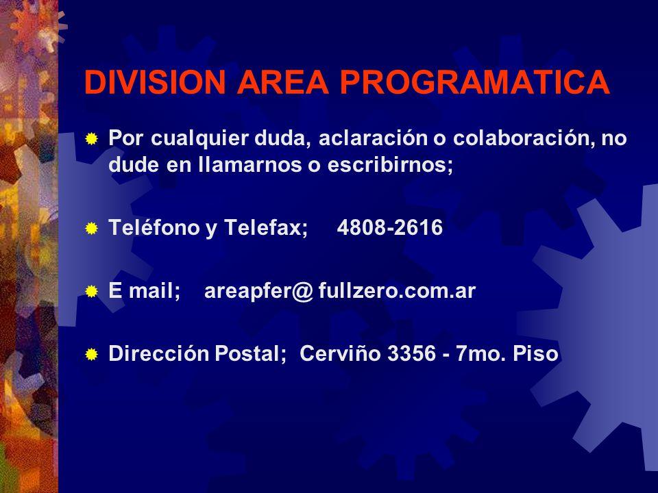 DIVISION AREA PROGRAMATICA Por cualquier duda, aclaración o colaboración, no dude en llamarnos o escribirnos; Teléfono y Telefax; 4808-2616 E mail; ar