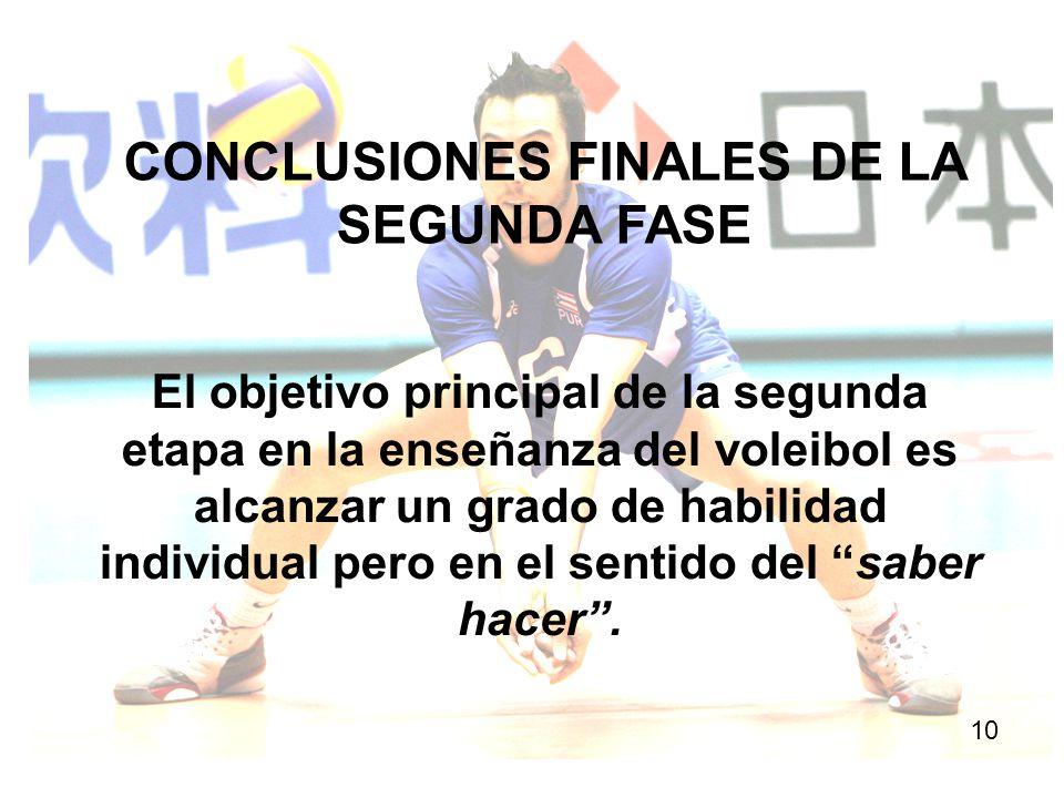 CONCLUSIONES FINALES DE LA SEGUNDA FASE 10 El objetivo principal de la segunda etapa en la enseñanza del voleibol es alcanzar un grado de habilidad in
