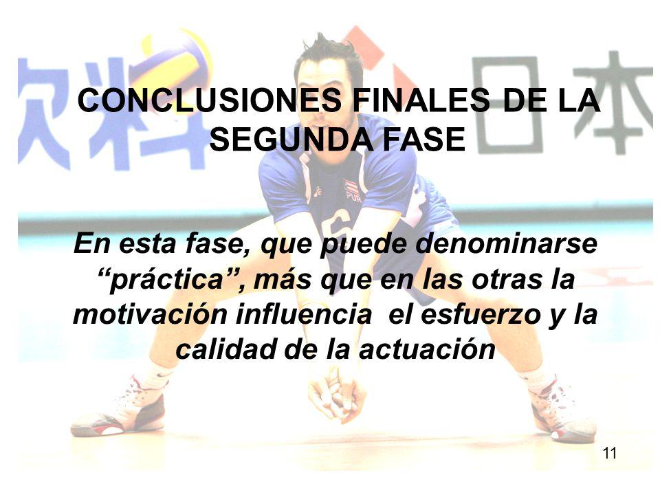 CONCLUSIONES FINALES DE LA SEGUNDA FASE 11 En esta fase, que puede denominarse práctica, más que en las otras la motivación influencia el esfuerzo y l