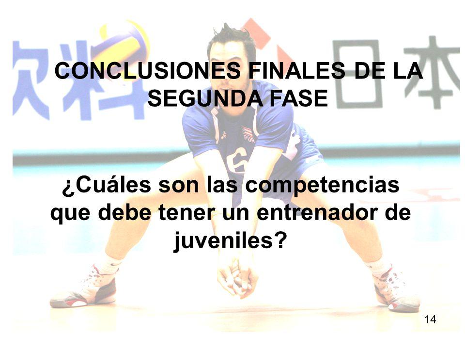 CONCLUSIONES FINALES DE LA SEGUNDA FASE 14 ¿Cuáles son las competencias que debe tener un entrenador de juveniles?