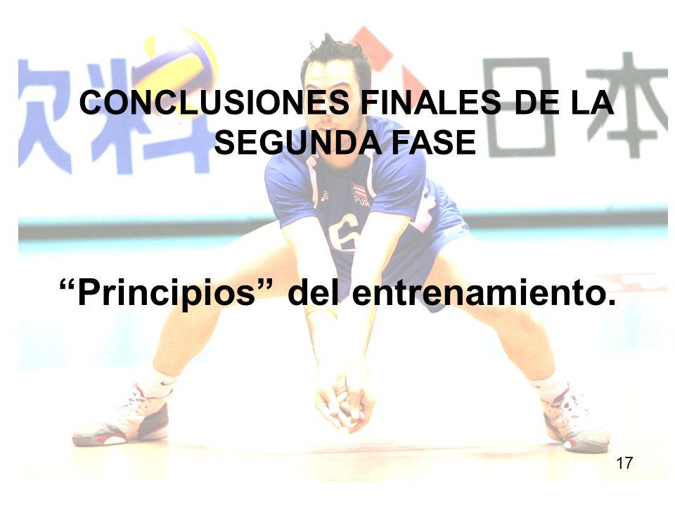 CONCLUSIONES FINALES DE LA SEGUNDA FASE 17 Principios del entrenamiento.