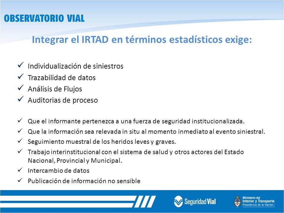 Integrar el IRTAD en términos estadísticos exige: Individualización de siniestros Trazabilidad de datos Análisis de Flujos Auditorias de proceso Que e