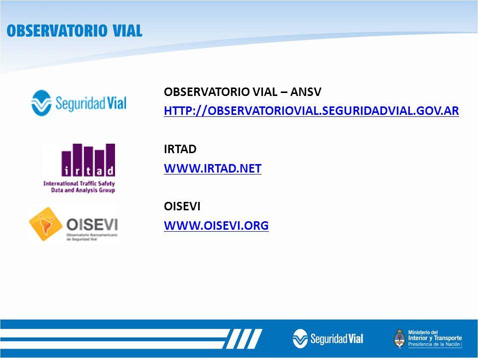 OBSERVATORIO VIAL – ANSV HTTP://OBSERVATORIOVIAL.SEGURIDADVIAL.GOV.AR IRTAD WWW.IRTAD.NET OISEVI WWW.OISEVI.ORG