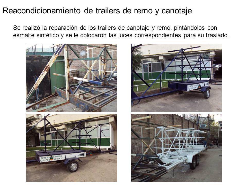 Reacondicionamiento de trailers de remo y canotaje Se realizó la reparación de los trailers de canotaje y remo, pintándolos con esmalte sintético y se le colocaron las luces correspondientes para su traslado.