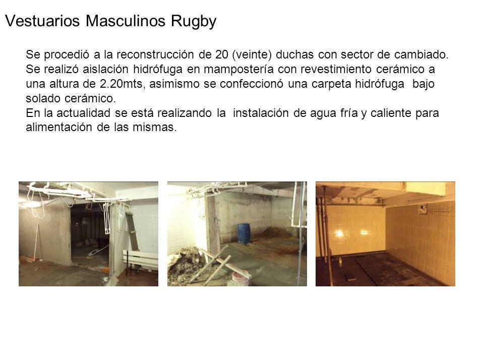 Vestuarios Masculinos Rugby Se procedió a la reconstrucción de 20 (veinte) duchas con sector de cambiado.