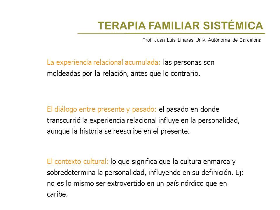 TERAPIA FAMILIAR SISTÉMICA La experiencia relacional acumulada: las personas son moldeadas por la relación, antes que lo contrario. El diálogo entre p