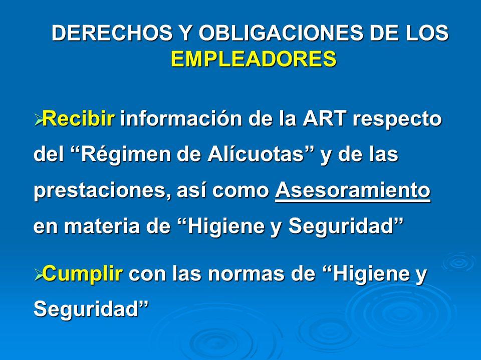 DERECHOS Y OBLIGACIONES DE LOS EMPLEADORES Recibir información de la ART respecto del Régimen de Alícuotas y de las prestaciones, así como Asesoramien