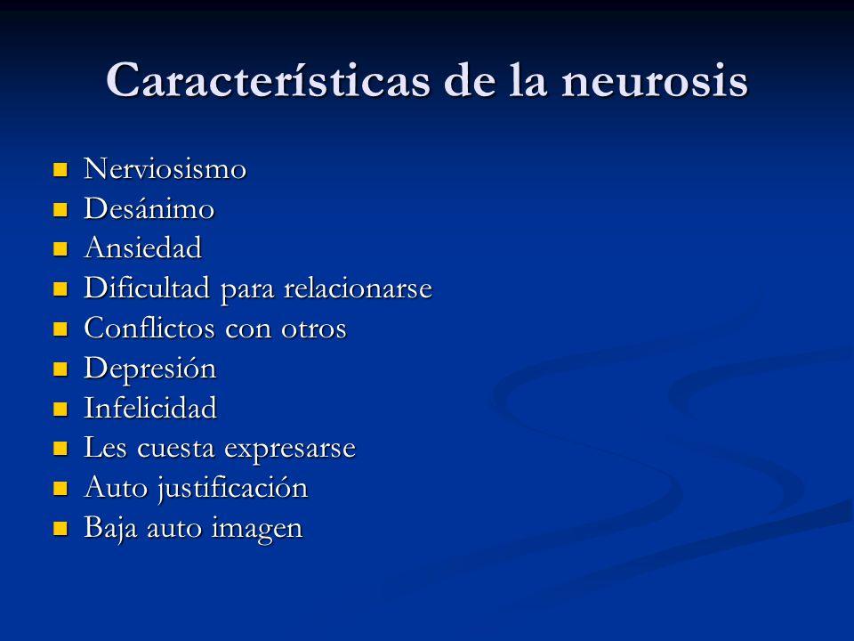 Características de la neurosis Nerviosismo Nerviosismo Desánimo Desánimo Ansiedad Ansiedad Dificultad para relacionarse Dificultad para relacionarse C