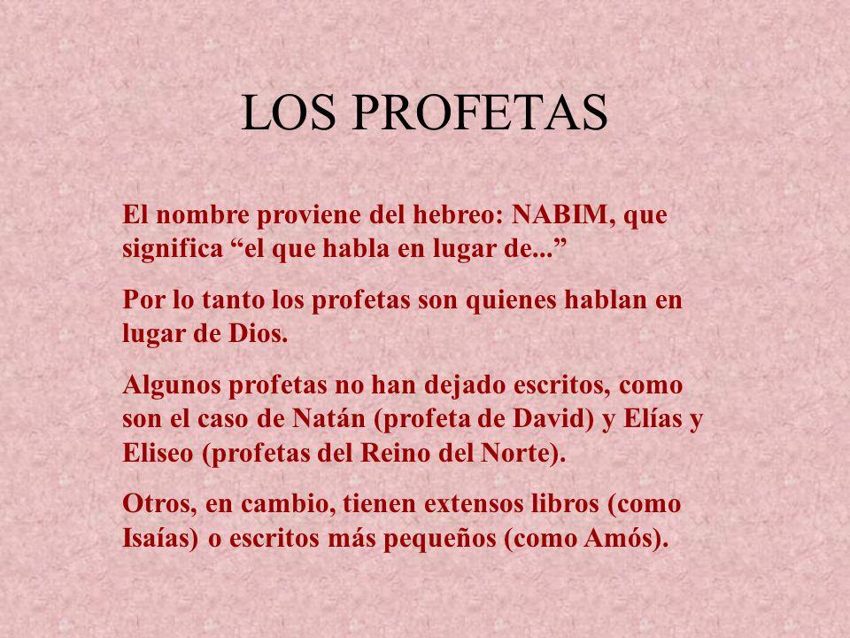 LOS PROFETAS El nombre proviene del hebreo: NABIM, que significa el que habla en lugar de... Por lo tanto los profetas son quienes hablan en lugar de
