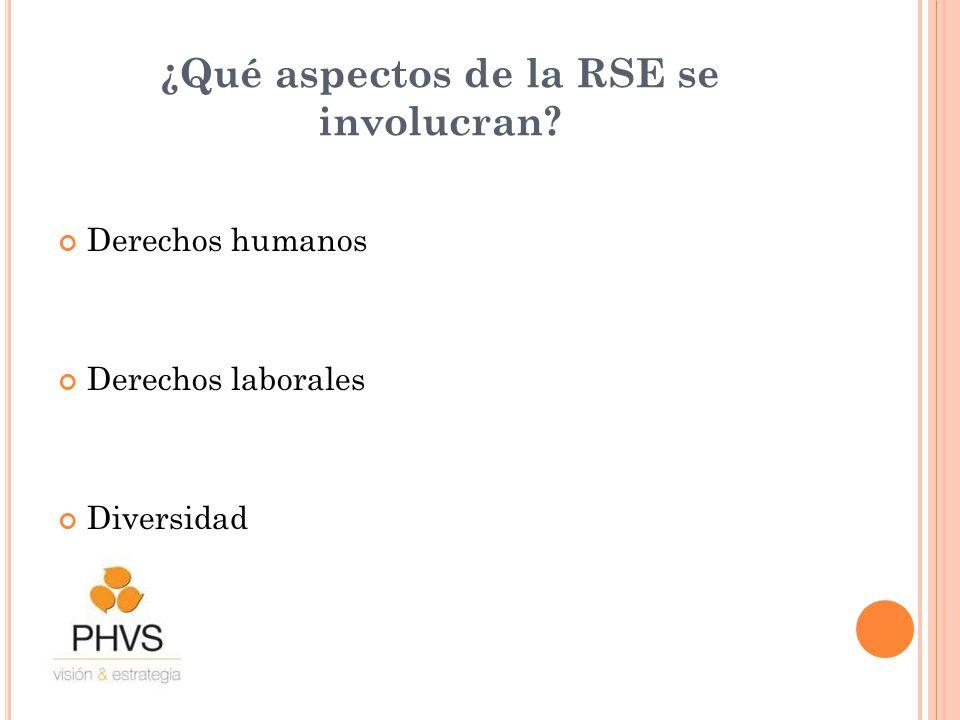 ¿Qué aspectos de la RSE se involucran? Derechos humanos Derechos laborales Diversidad