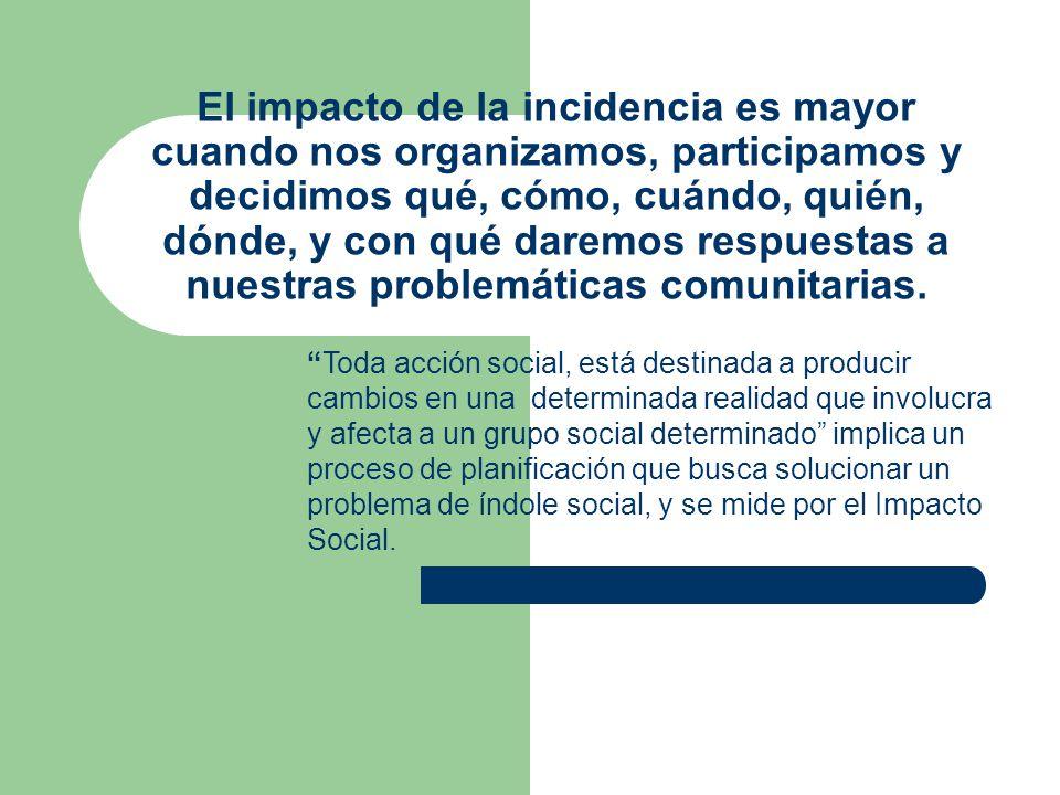 El impacto de la incidencia es mayor cuando nos organizamos, participamos y decidimos qué, cómo, cuándo, quién, dónde, y con qué daremos respuestas a