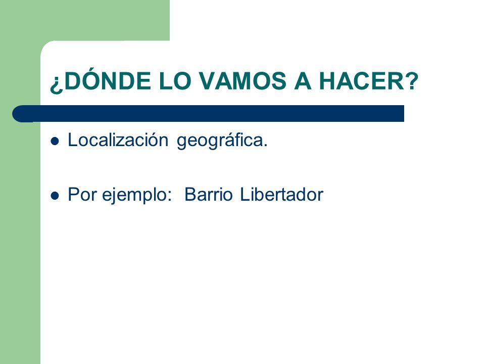 ¿DÓNDE LO VAMOS A HACER? Localización geográfica. Por ejemplo: Barrio Libertador