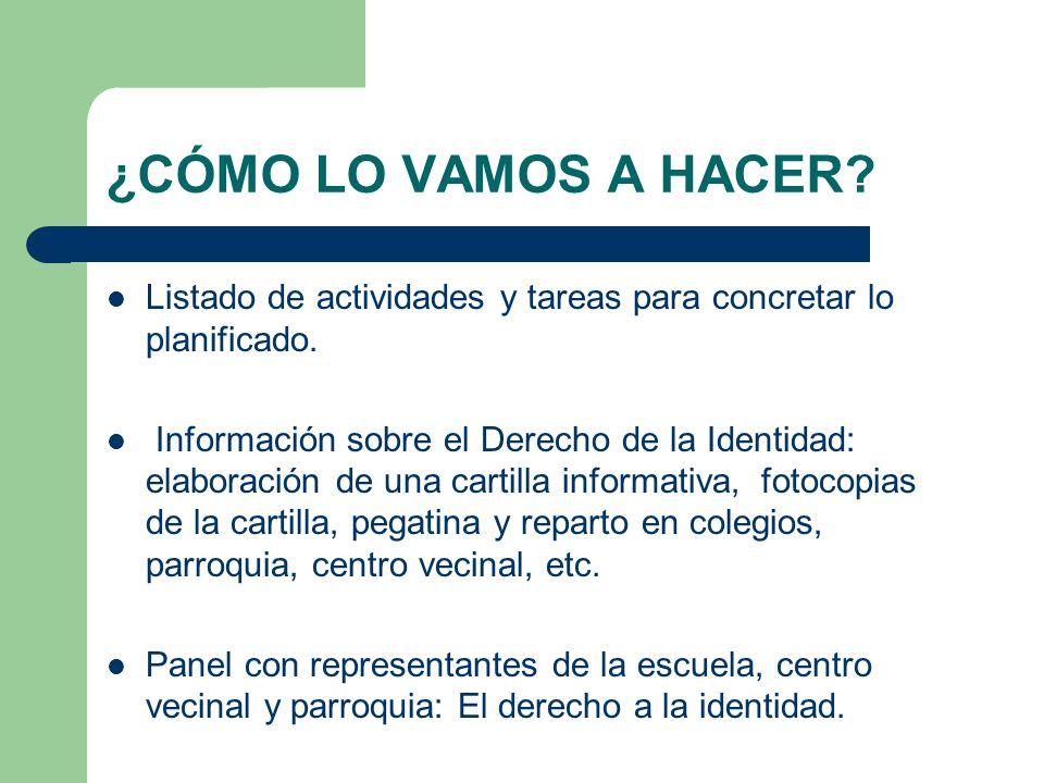 ¿CÓMO LO VAMOS A HACER? Listado de actividades y tareas para concretar lo planificado. Información sobre el Derecho de la Identidad: elaboración de un