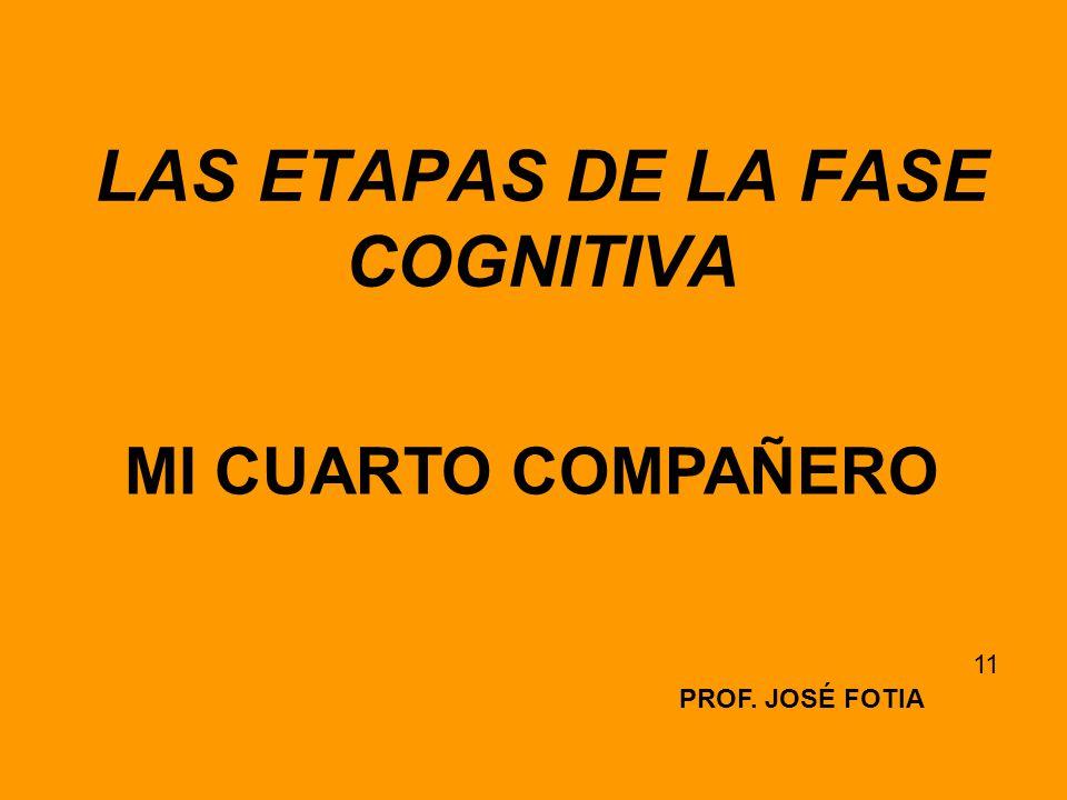 LAS ETAPAS DE LA FASE COGNITIVA PROF. JOSÉ FOTIA 11 MI CUARTO COMPAÑERO