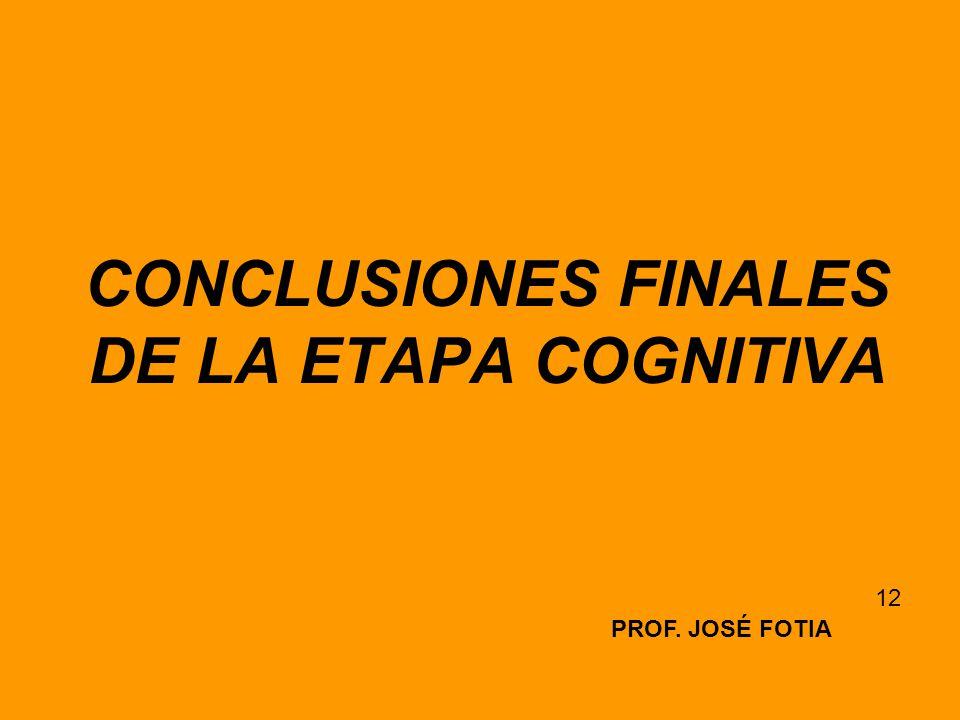 CONCLUSIONES FINALES DE LA ETAPA COGNITIVA PROF. JOSÉ FOTIA 12