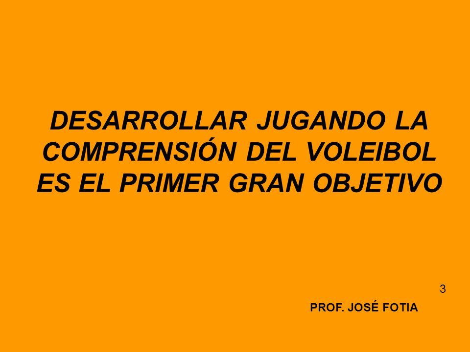 DESARROLLAR JUGANDO LA COMPRENSIÓN DEL VOLEIBOL ES EL PRIMER GRAN OBJETIVO PROF. JOSÉ FOTIA 3
