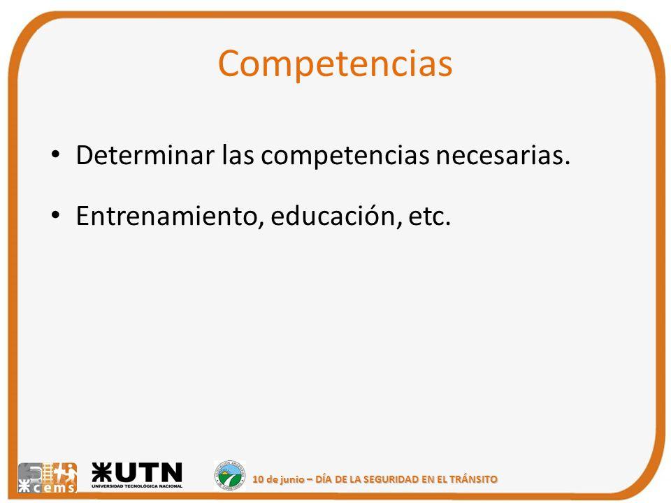 10 de junio – DÍA DE LA SEGURIDAD EN EL TRÁNSITO Competencias Determinar las competencias necesarias. Entrenamiento, educación, etc.