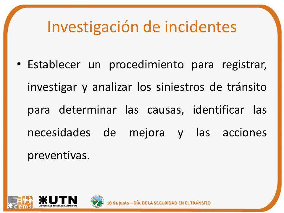 10 de junio – DÍA DE LA SEGURIDAD EN EL TRÁNSITO Investigación de incidentes Establecer un procedimiento para registrar, investigar y analizar los sin