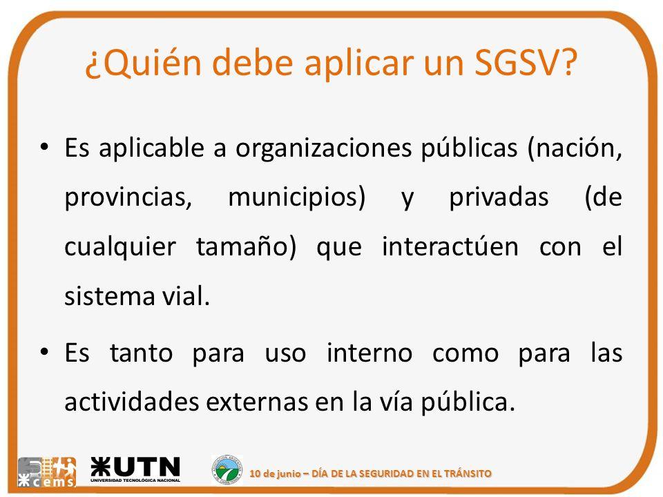 10 de junio – DÍA DE LA SEGURIDAD EN EL TRÁNSITO ¿Quién debe aplicar un SGSV? Es aplicable a organizaciones públicas (nación, provincias, municipios)