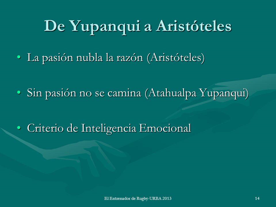 De Yupanqui a Aristóteles La pasión nubla la razón (Aristóteles)La pasión nubla la razón (Aristóteles) Sin pasión no se camina (Atahualpa Yupanqui)Sin