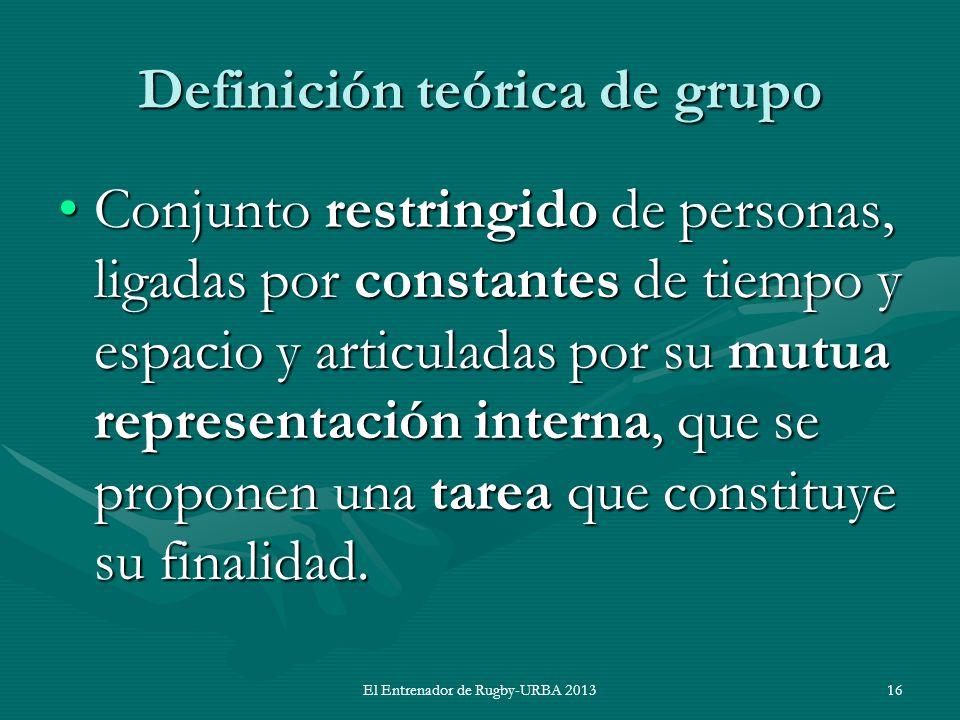 Definición teórica de grupo Conjunto restringido de personas, ligadas por constantes de tiempo y espacio y articuladas por su mutua representación int