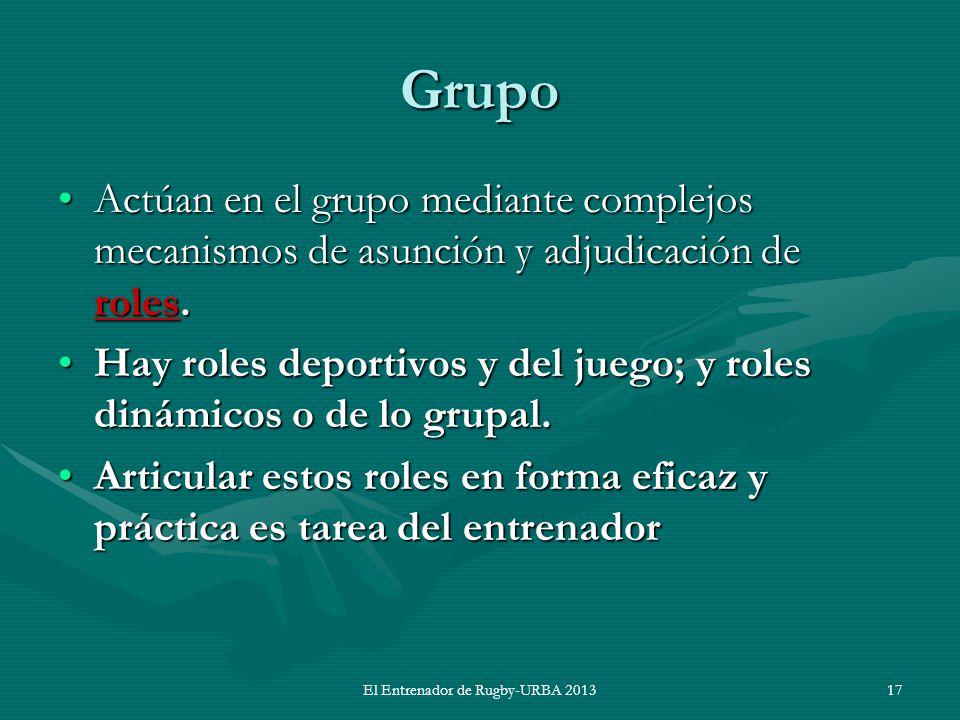 Grupo Actúan en el grupo mediante complejos mecanismos de asunción y adjudicación de roles.Actúan en el grupo mediante complejos mecanismos de asunció