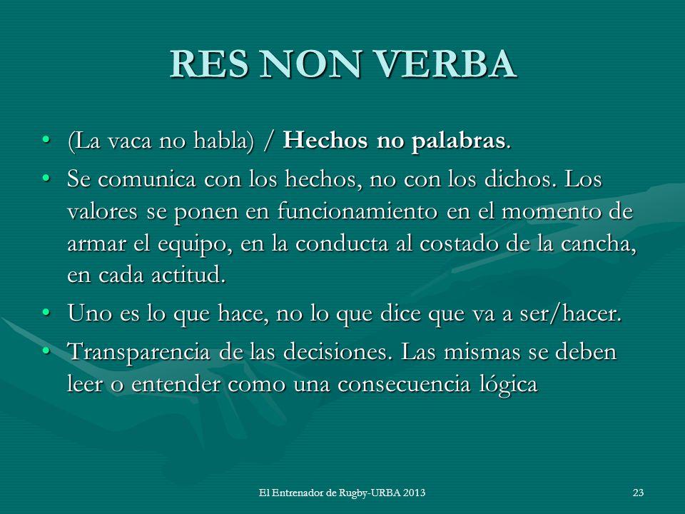 El Entrenador de Rugby-URBA 2013 RES NON VERBA (La vaca no habla) / Hechos no palabras.(La vaca no habla) / Hechos no palabras. Se comunica con los he