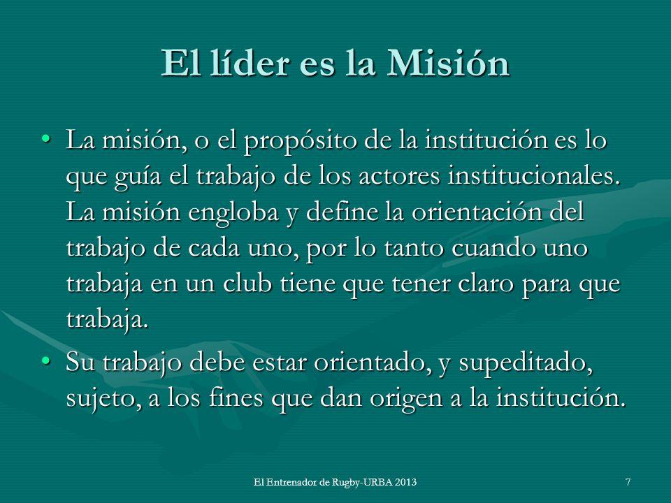 El líder es la Misión La misión, o el propósito de la institución es lo que guía el trabajo de los actores institucionales. La misión engloba y define