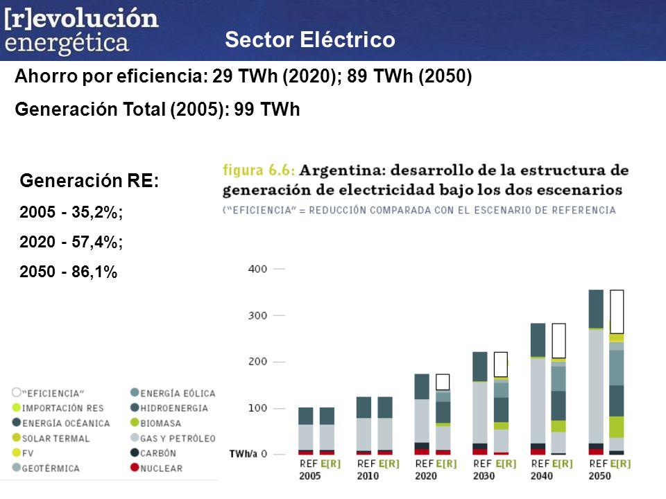 Sector Eléctrico Ahorro por eficiencia: 29 TWh (2020); 89 TWh (2050) Generación Total (2005): 99 TWh Generación RE: 2005 - 35,2%; 2020 - 57,4%; 2050 - 86,1%