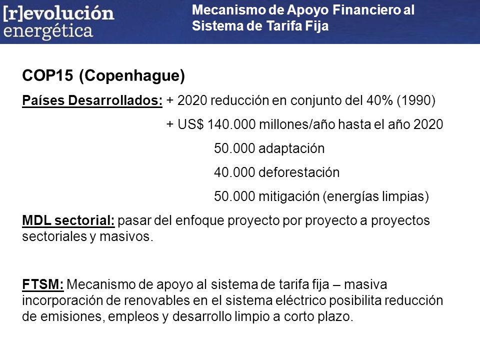 Mecanismo de Apoyo Financiero al Sistema de Tarifa Fija COP15 (Copenhague) Países Desarrollados:+ 2020 reducción en conjunto del 40% (1990) + US$ 140.000 millones/año hasta el año 2020 50.000 adaptación 40.000 deforestación 50.000 mitigación (energías limpias) MDL sectorial: pasar del enfoque proyecto por proyecto a proyectos sectoriales y masivos.