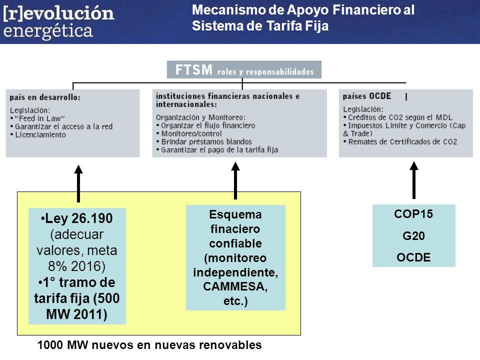 COP15 G20 OCDE Esquema finaciero confiable (monitoreo independiente, CAMMESA, etc.) Ley 26.190 (adecuar valores, meta 8% 2016) 1° tramo de tarifa fija (500 MW 2011) Mecanismo de Apoyo Financiero al Sistema de Tarifa Fija 1000 MW nuevos en nuevas renovables