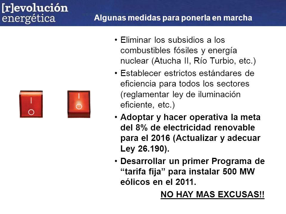 we must take action now!! Eliminar los subsidios a los combustibles fósiles y energía nuclear (Atucha II, Río Turbio, etc.) Establecer estrictos están
