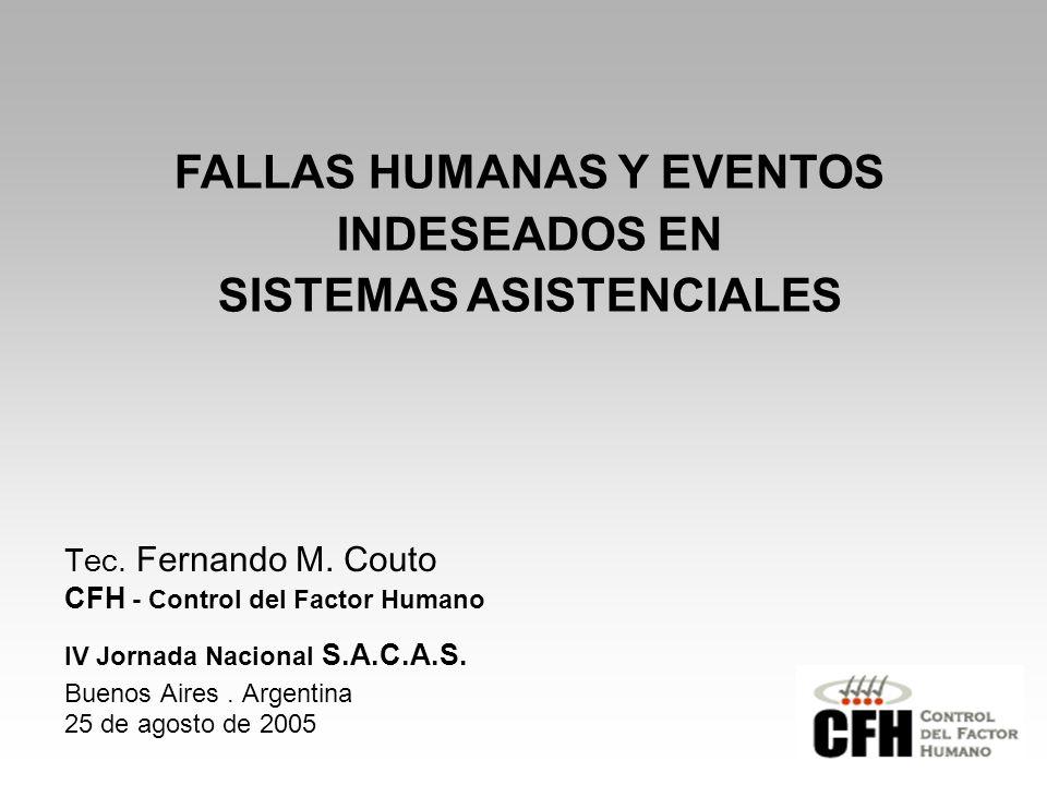 FALLAS HUMANAS Y EVENTOS INDESEADOS EN SISTEMAS ASISTENCIALES Tec.
