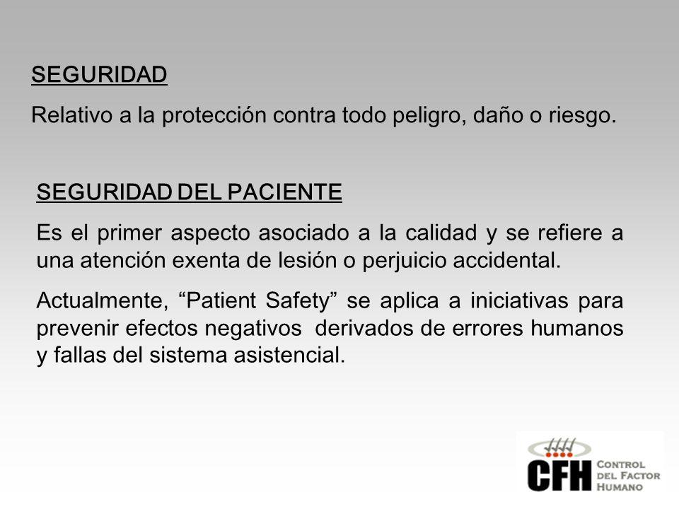 SEGURIDAD Relativo a la protección contra todo peligro, daño o riesgo.